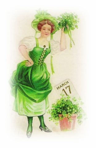 Free-vintage-st-patricks-day-clip-art-woman-with-march-17-calendar-page-and-shamrocks
